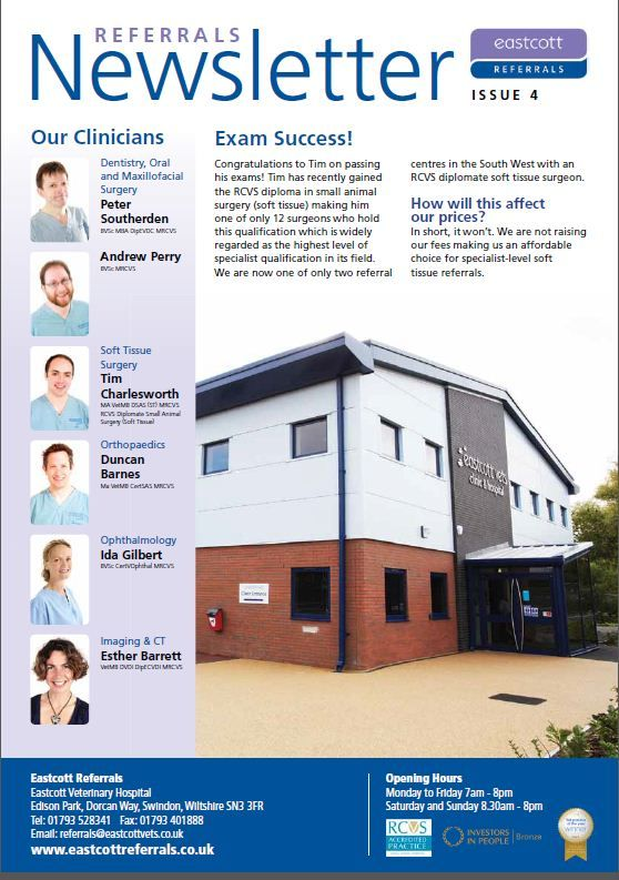 Eastcott Veterinary Referrals Swindon Newsletter Issue 4
